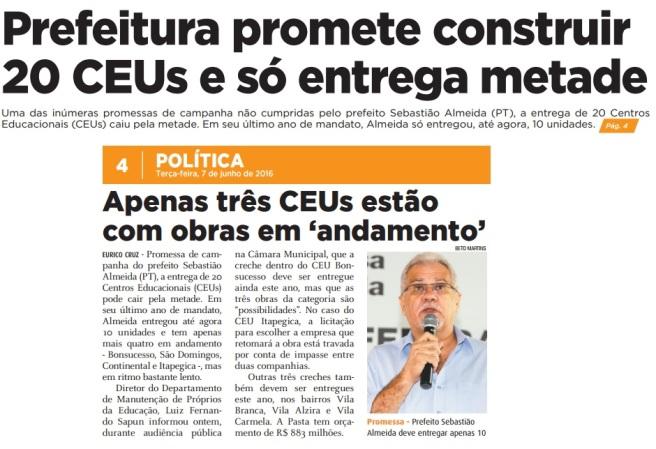 Folha Metropolitana 07-06-2016 Capa e Página 4