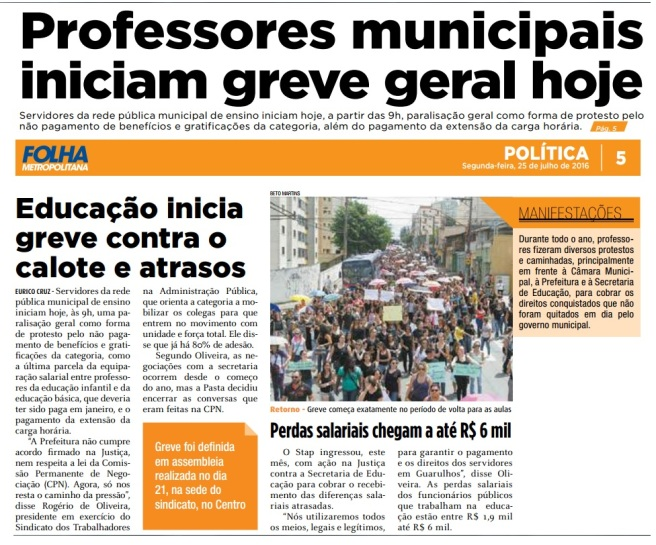 Folha Metropolitana 25-07-2016