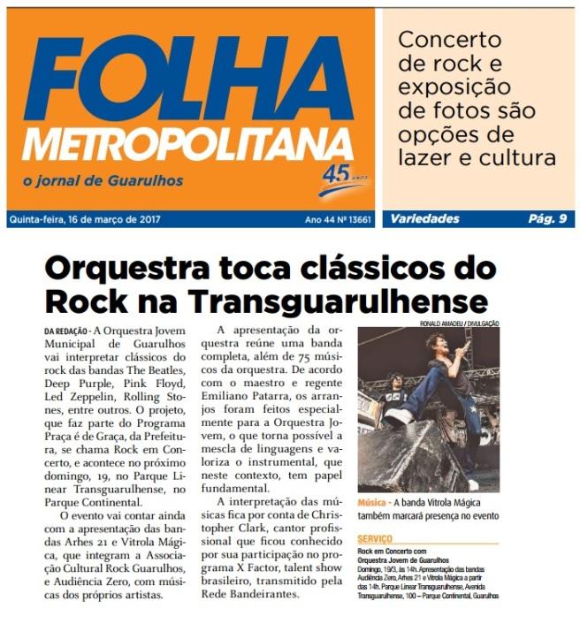 Folha Metropolitana 16-3-17 Capa e Página 9
