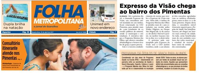 Folha Metropolitana Página 5 e Capa 19-04-2017