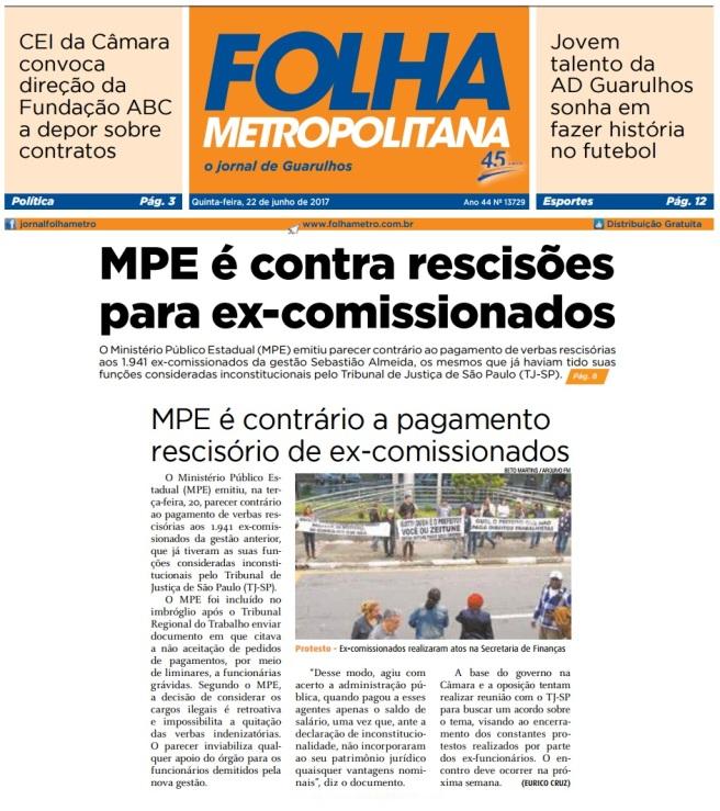 Folha Metropolitana 22-06-2017 Capa e Página 8