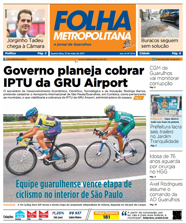 Folha Metropolitana 31-05-2017 Capa
