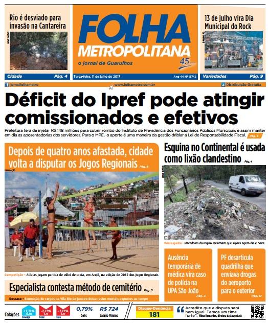Folha Metropolitana 11-07-2017 Capa