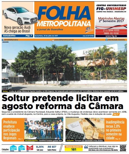 Folha Metropolitana 28-07-2017 Capa