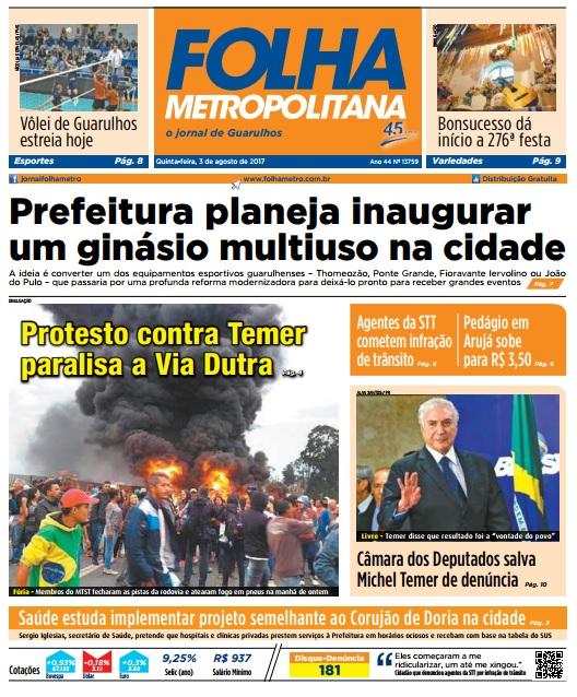 Folha Metropolitana 03-08-2017 Capa