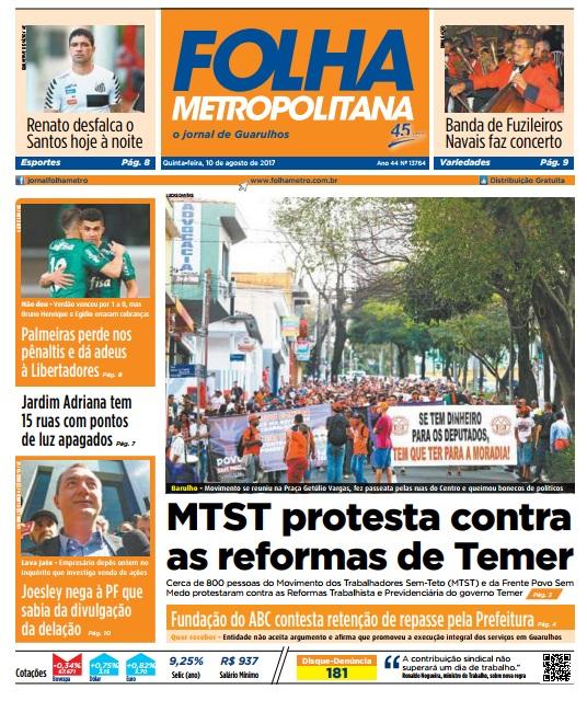 Folha Metropolitana 10-8-2017 Capa