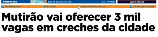 Folha Metropolitana 18-08-2017 Capa