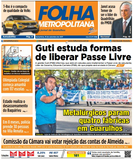 Folha Metropolitana 15-09-2017 Capa